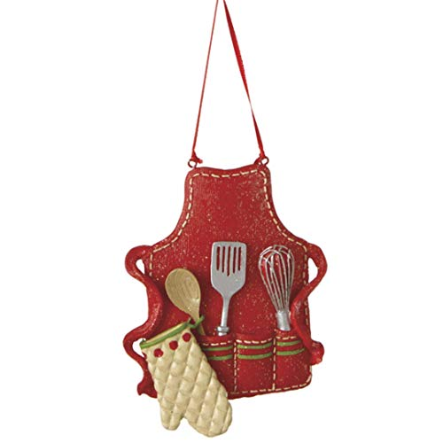 Midwest-CBK Cute Christmas Holiday Pastry Chef Bakers Apron Ornament , Red, Medium, 3.5' x 3'