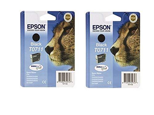 Epson T0711 - Pack 2 x cartuchos de tinta para impresoras Epson D78 Stylus, color negro