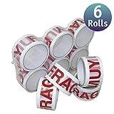 [6 Pack] Cinta de embalar/cinta adhesivas - Cinta adhesiva de embalar varios colores y tamaños (50mm x 66m, Frágil Blanca)