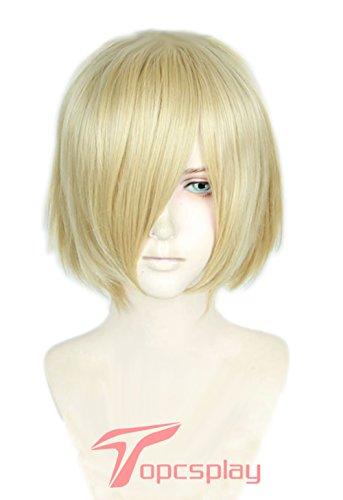Topcosplay Women or Men Wig Blonde Short Straight Halloween Costume Cosplay Wig With Bangs