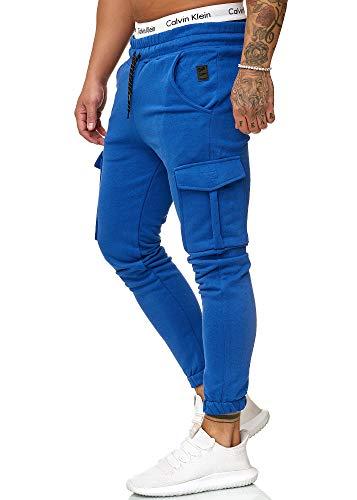 OneRedox Herren Jogging Hose Jogger Streetwear Sporthose Modell 1213 Blau XXL