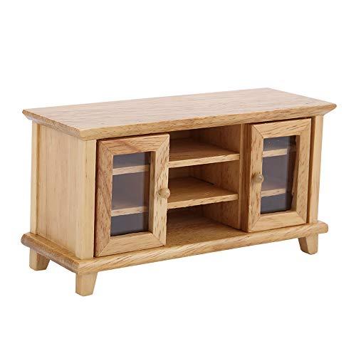 Mueble de TV de casa de muñecas, 1:12 Simulación de Muebles en Miniatura Mueble de Almacenamiento de TV de Madera Modelo de Juguete para Jardines de Hadas Casa de muñecas Accesorios(Color de Madera)