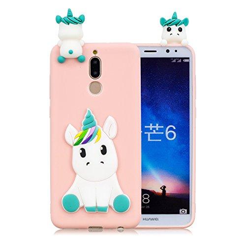 HopMore Funda para Huawei Mate 10 Lite Silicona Dibujos Panda Unicornio Divertidas TPU Gel Kawaii Ultrafina Slim Case Antigolpes Caso Protección Flexible Cover Design Gracioso - Rosa Unicornio