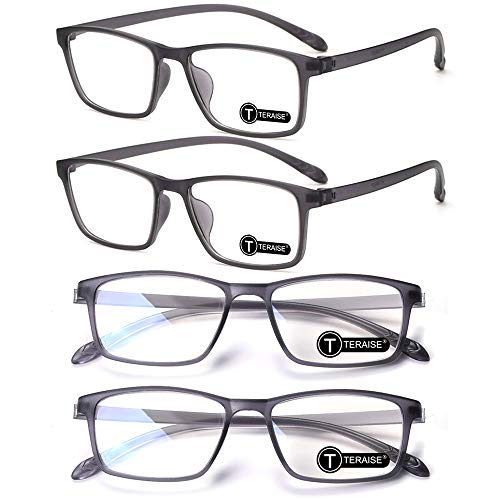 TERAISE 4-Pack Occhiali da lettura Occhiali da vista per computer con blocco della luce blu Lettori ultraleggeri ad alta elasticità riducono l affaticamento degli occhi per uomini e donne(2.5X)