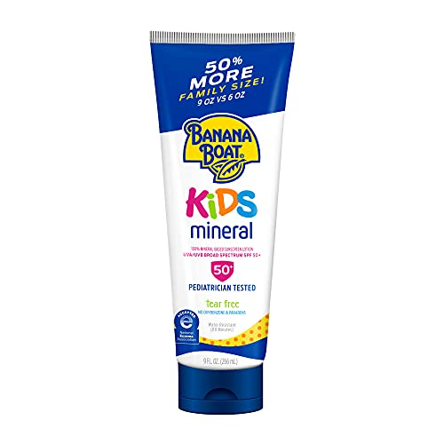 Banana Boat Kids 100% Mineral, Tear-Free, Reef Friendly, Broad Spectrum Sunscreen Lotion, SPF 50, 9oz., Value Size