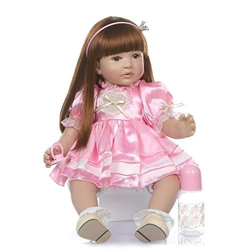 MaMadolls Reborn Babypuppe, realistisch, 61 cm, weiches Silikon, Vinyl, Reborn Kleinkind, Babypuppe, lebensechte Mädchen, lange Haare mit rosa Kleid, Set für Kinder, Festival-Geschenk
