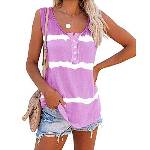 Sommer Damen Rundhalsausschnitt T-Shirt Mit GeknöPftem Weste Und Lockerem Tie-Dye-Print