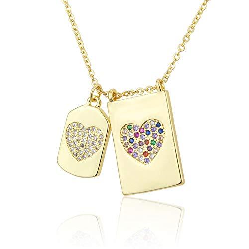 ShSnnwrl Colgante Collares con Colgante de corazón de circonita Doble de Metal Simple, Gargantilla Cuadrada Minimalista, Collar d
