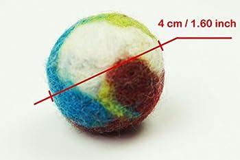 Jouet interactif de chat et de chien. Boule de laine Fait main. 10 pièces. Laine de mouton naturelle. Doux et léger. (wool ball 10 pieces)