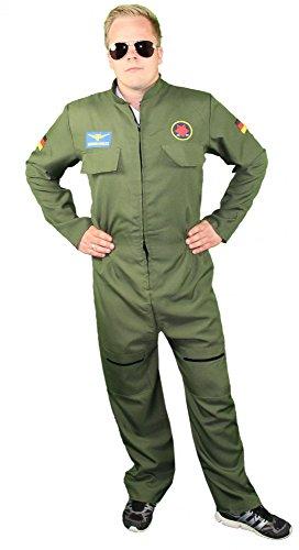 Foxxeo Jetpiloten Kostüm für Herren - Pilotenkostüm Piloten Uniform Jetpilot Anzug für Karneval Fasching Kostüm Pilot Größe L
