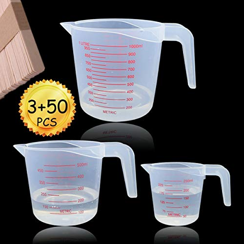 YG_Oline 3 Pack Plastic Measuring Cup For Liquids Stackable Measuring Cup Set In 3 Size With Angled Grip, 50 Pcs Wooden Stirring Sticks As Bonus