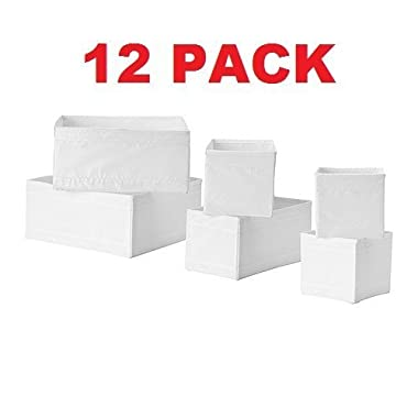 Ikea Drawer Storage Organizer Box Bin Tote White (12 Piece)