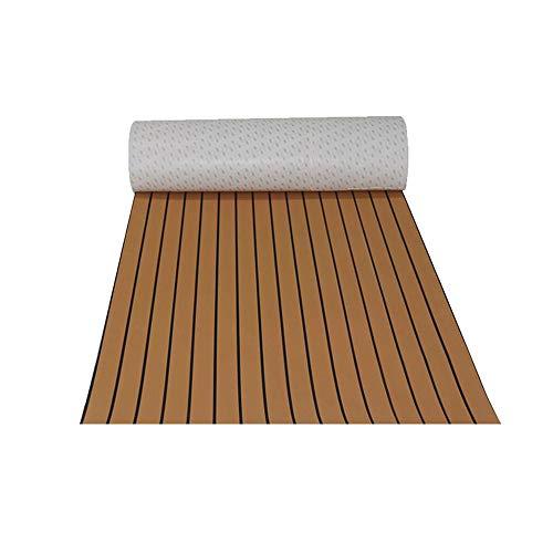 TiooDre Holzimitat Bodenbelag Eva Anti-Feuchtigkeit Anti-Rutsch-Teppich Anti-UV-Korrosionsbeständige Faux Teak Decking Sheet Dekorative Matte für Yacht RV Boote Kajaks, 240 * 45 mm