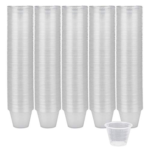 Yarlung 500 Pack 1 Oz Plastic Medicine Cup, Disposable Clear Graduated Cups with Volume and Dosage Measure for Mixed Pills, Liquid Medication Measuring, Mouthwash