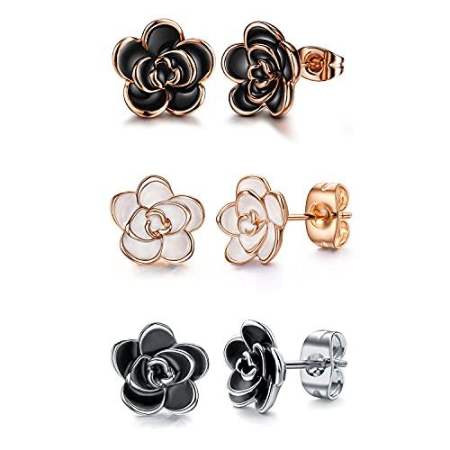 Black Rose Flower Stud Earrings by AllenCoco