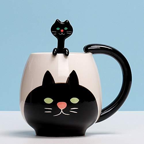 Taza de gato y cuchara de 12 oz, zorro/panda/cerdo/oso/rana taza, linda taza de animales para leche, café, agua potable (Color : Cat Black)