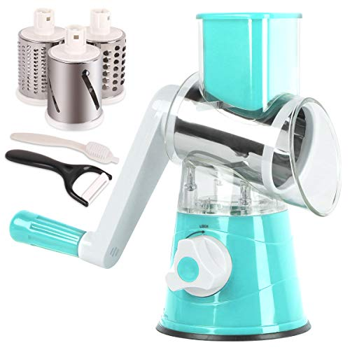 Rotary Cheese GraterVegetable Slicer MandolineGraters for Kitchen with 3 Interchangeable Blades Cheese ShredderSalad Shooter(Blue)