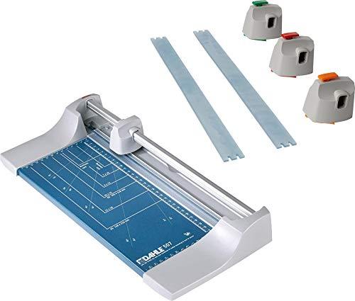 Dahle 507 Roll- und Schnitt-Schneidemaschine (Papierschneidemaschine mit einer Schnittlänge von 320 mm, bis zu DIN A4), blau (Blau | Kreativ Set)