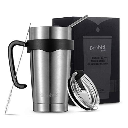 Vaso Térmico Capacidad de 20oz/585ml Termo Café Taza Térmica Doble Pared en Acero Inoxidable e Incorporación de Asilamiento al Vacío Asa Fácil de Agarrar Tapa Cierre Abatible Anti-Derrames Pajita Woda