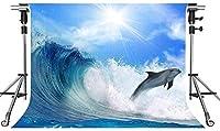 HD海の背景イルカ青空白い雲写真背景テーマパーティー写真ブースYouTube背景10X7ftZYMT008