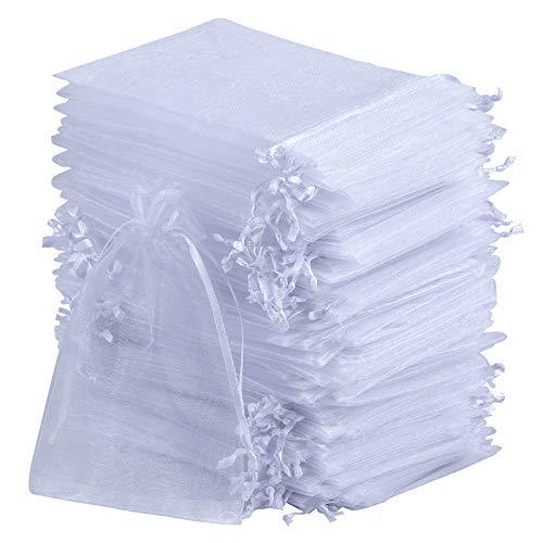 SOMFIUI Bolsas de organza, 100 bolsas de regalo de boda, bolsa de regalo de colores variados para joyería de fiesta de boda (blanco, 10 x 15 cm)