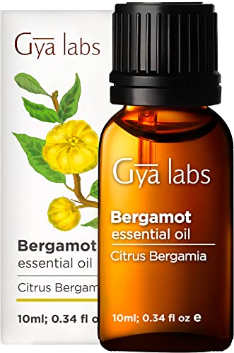 Gya Labs Bergamot Essential Oil for Stress Relief and Headaches - Bergamot Oil for Muscle Pain Relief and Hair Growth - 100 Pure Natural Therapeutic Grade for Aromatherapy - 10ml