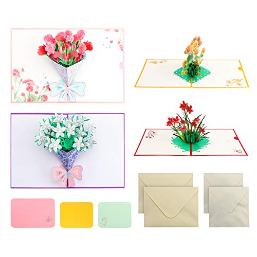 4 Pieces Pop Up Card, Flower 3D Greetings Card, Mother's Day Flowers Pop Up Card, Flower Bouquet Greeting Card with Envelopes for All Occasions Mother's Day Birthday Anniversary Wedding Valentines Day