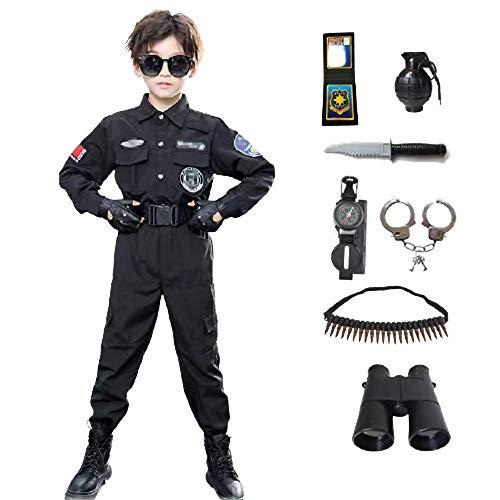 AMBH Juego de 13 piezas de disfraz de polica para nios, juego de rol con cinturn, guantes, gorra de pico, regalos de cumpleaos para nios y nias (talla L)