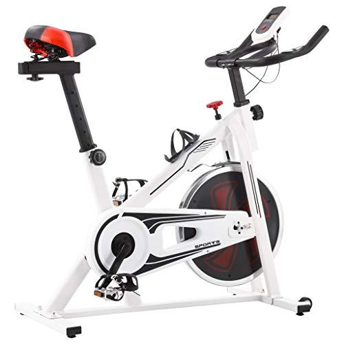 vidaXL Fitnessfahrrad mit Pulssensoren Heimtrainer Hometrainer Fahrrad Trimmrad Fitnessbike Ergometer Heimtrainingsrad Weiß Rot 100kg