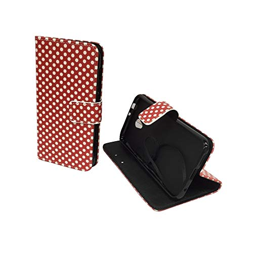 König Design Handyhülle Kompatibel mit Vodafone Smart Prime 7 Handytasche Schutzhülle Tasche Flip Hülle mit Kreditkartenfächern - Polka Dot Weiße Punkte Rot