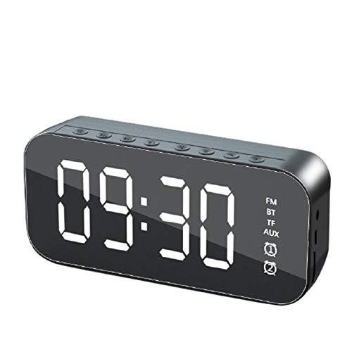 JieMiTe Bluetooth Lautsprecher LED Spiegelbild Wecker Handy Subwoofer Uhr Tisch Digitaluhr Despertador MP3 TF FM AUX-Schwarz_EIN