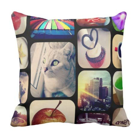 perfecone Home Improvement Funda de almohada de goma con sus fotos de Instagram Crea para sofá y coche funda de almohada 1 paquete de 50 x 50 cm