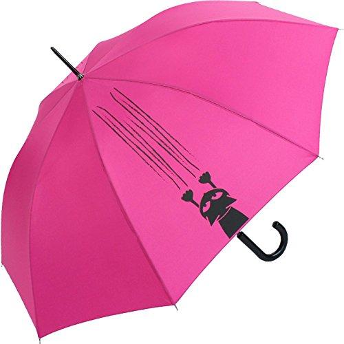 Stockschirm für Damen und Herren mit Automatik - Bedruckt Katzen und Krallen - pink
