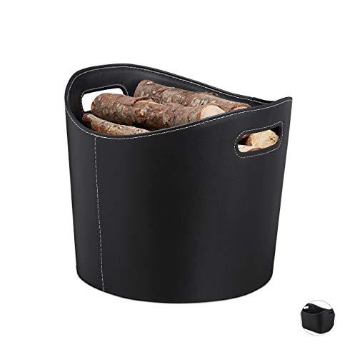 Relaxdays Kunstleer brandhout mand, stevige boomstambak met handgrepen, maat L, zwart