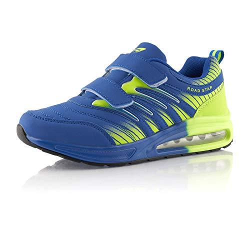 Fusskleidung® Damen Herren Laufschuhe Dämpfung Sportschuhe leichte Turnschuhe Blau Grün EU 43