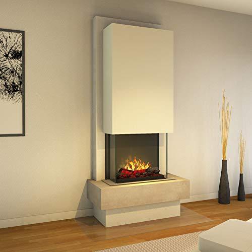 Muenkel design Milano - Opti-Myst elektrische haard haard haard - zonder verwarming - natuursteen blanco leisteen beige - rookvanger wit