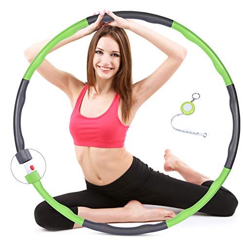 SKL Hula Hoop - Hula Hoop per adulti per la riduzione del peso, pieghevole, hoola Hoop per bambini, in schiuma, 8 nodi rimovibili, Φ48-88 cm (verde)