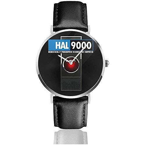 HAL 9000 Algorithmic Computer 2001 Space Odyssey Uhren Quarzlederuhr mit schwarzem Lederband für Sammlungsgeschenk