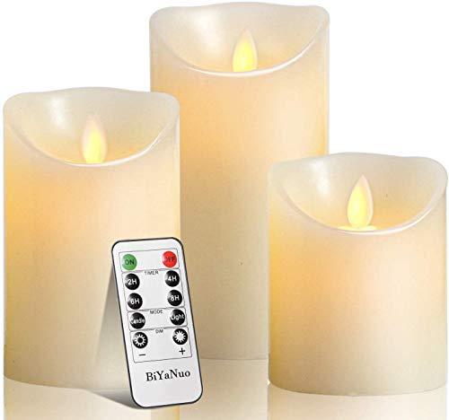 BiYaNuo LED-Kerzen, flammenlose Kerzen, flammenloses kerzenlichter,10,2 cm, 12,7 cm, 15,2 cm, Echtwachskerze, Stumpenkerze, Fernbedienung mit 10 Tasten, mit 24-Stunden-Zeitschaltuhr (1 * 3)