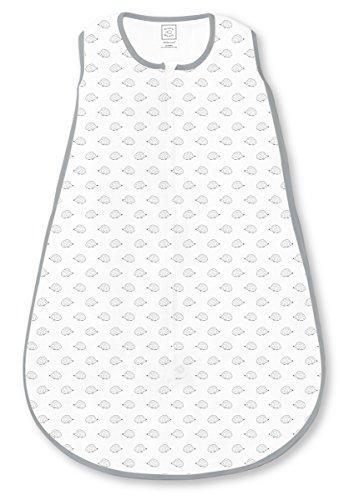 SwaddleDesigns Coton deux voies de sac de couchage avec fermeture Éclair/Tiny Hérisson, grande, gris,