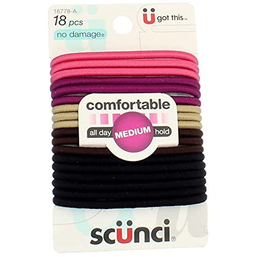 Scunci No-Damage Hair Elastics Medium Hold, Bright Colors, 18-Pcs Each (2-Packs)