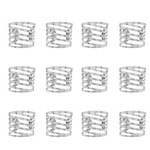 Gcroet Serviettenringe Legierung Hochzeit Thanksgiving Serviettenringe Halter Dekoration Ring Tisch Zubehör für Abendessen Serviette Partei (Silber) 12pcs