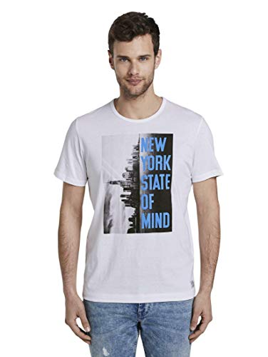 Tom Tailor Motiv T-Shirt, 20000/White, M Uomo