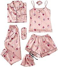 SheIn Women's 7pcs Pajama Set Cami Pjs with Shirt and Eye Mask Pink Strawberry X-Large
