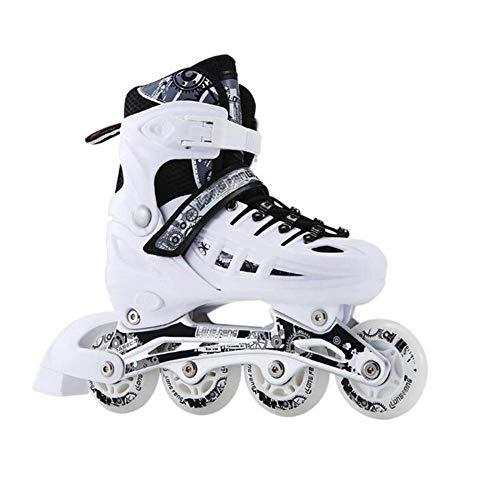 MRFYD Verstellbare Inline Skates für Kinder und Erwachsene LED Rollschuhe für Jugendliche mit Allen leuchtenden Rädern für Mädchen und Jungen Herren und Damen Rollerblades Weiß_M-Big Kid (EU: 34-38)