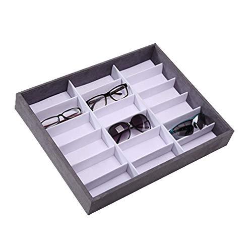 Yamyannie Caja de Almacenamiento de Gafas 18 Piezas de Gafas de Sol Gafas Joyería Relojes Caso de exhibición de Almacenamiento para Gafas (Size : 50 * 40 * 7.5cm)