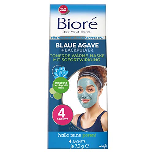 Bioré Wärmende Tonerde-Gesichts-Maske mit Blauer Agave und Backpulver für Mischhaut, 28 g