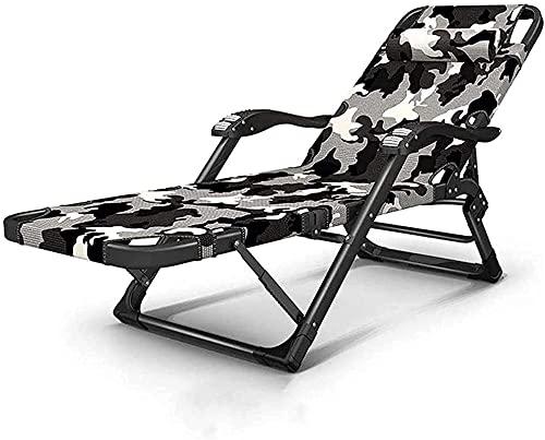 Slscyx Sun Lounger Lounge Stuhl Outdoor Portable Folding Deck Stuhl Garten Rasen Terrasse Camping Sun Lounger (Farbe : No Pad|Grey)