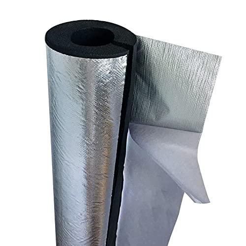 GEREP 95cm Tubo Isolante Autoadesivo Isolante per Tubature, Foil Backed Pipe Wrap,Isolamento Tubi Condizionatore, ID22-114mm / Wall Thickness 20mm / ID76mm