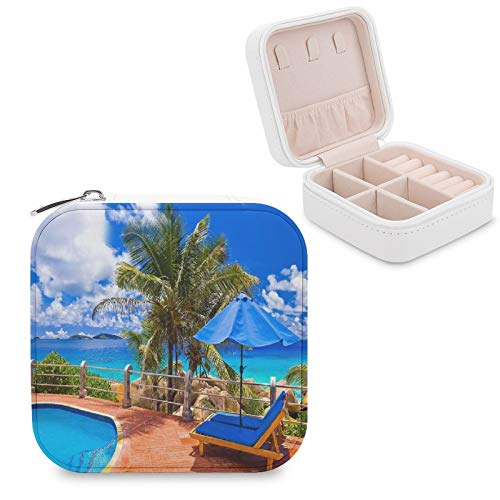 GADZILLE Tropical Sea Uumbrella Swimming Pool Jewelry Storage Box,Travel Jewelry Organizer Holder Portable Display Storage Case for Earring Rings Necklace Bracelet Pendants for Girls and Women Gift.